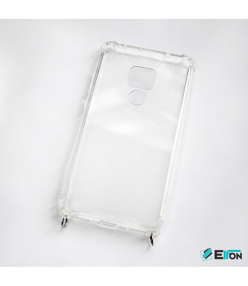Vorpräparierte TPU+PC hart kristallklar Hülle mit Silber Ring für Huawei Mate 20, Art:000004-1