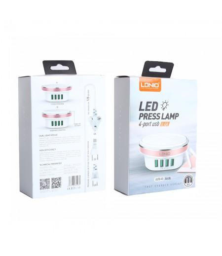 LDNIO® A4406  USB Netzteil Adapter mit Lampe und 4 USB Ports 4.4A, Art.:000235