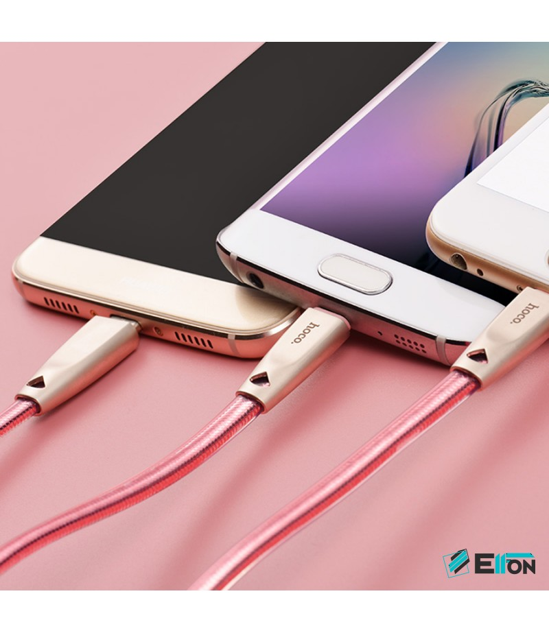 Hoco U9 One-pull-three Zinc Alloy knitted charging cable, Art.:000292