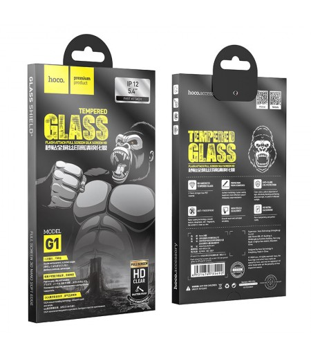 Hoco Flash Attach Full Screen HD Tempered Glass für iPhone 12 Mini (5,4) (G1), Art.:000173